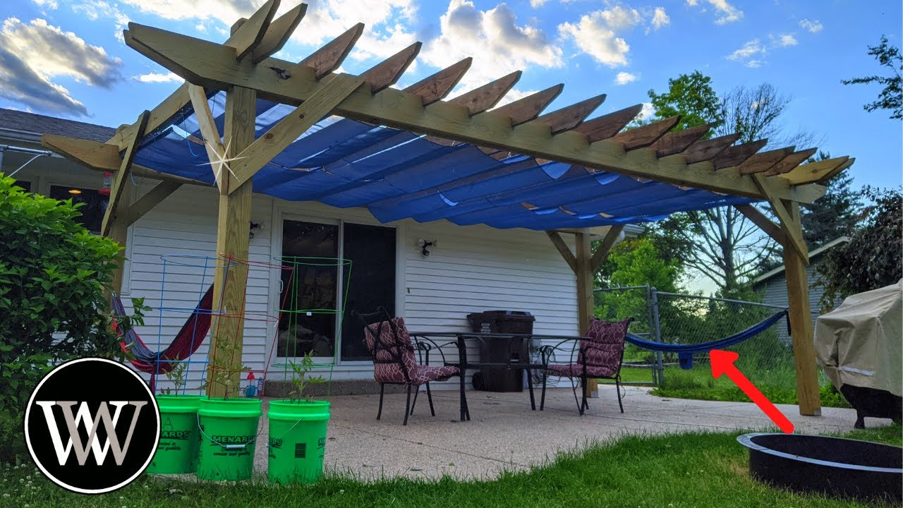 DIY Pergola with Retractable Awning and Power Tools