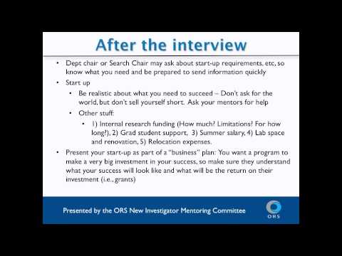 ORS Webinar: How to find a faculty job?   Part II - Interview and Negotiation