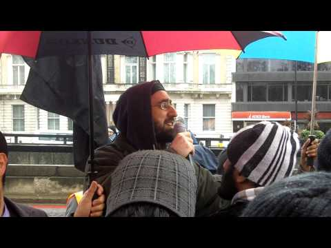 Libya Protest 26th Feb 2011 London UK Hizb ut Tahrir (HD Video) English Address Abu Luqman