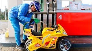 Funny Video Baby Ride on New Sportbike Mini Power Wheel Pocket Dirt Crossbike Fuel Station