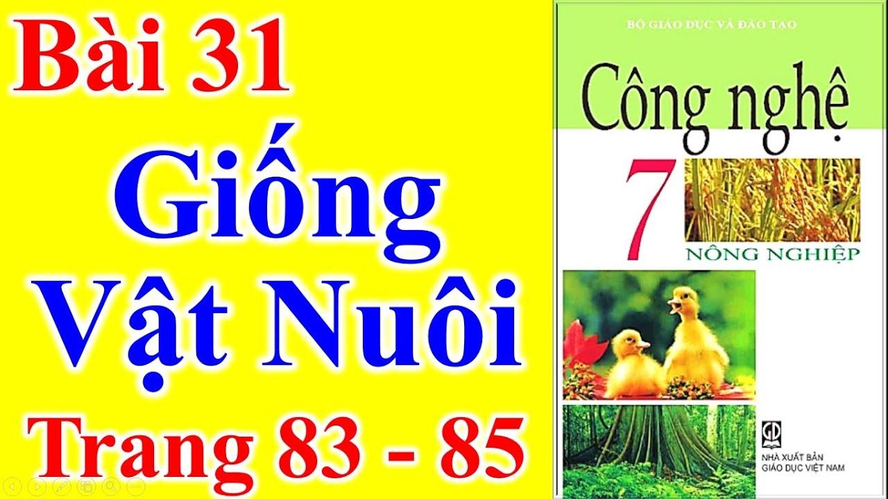 Công Nghệ Lớp 7 Bài 31 – Giống Vật Nuôi – Trang 83 – 85