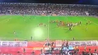 Serbia vs Albania  football game interrupted after drone invasion 14 10 2014
