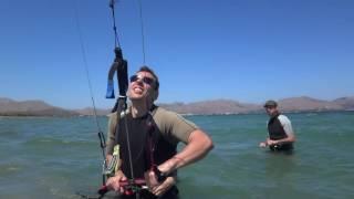Roman and Olga learning kitesurfing in Mallorca