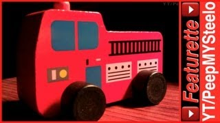 Wooden Fire Truck Toys In Classic Red Engine Push Toy For Kids & Baby Toddlers For Pretend Play