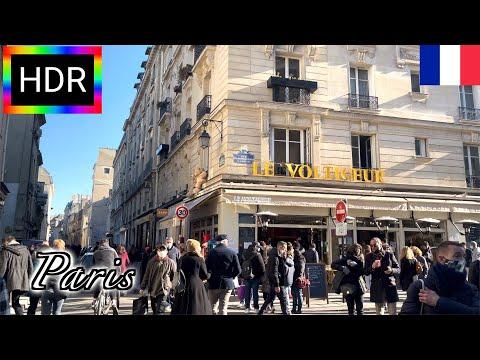 🇫🇷【HDR 4K】Paris Winter Walk - Le Marais District  (March, 2021)