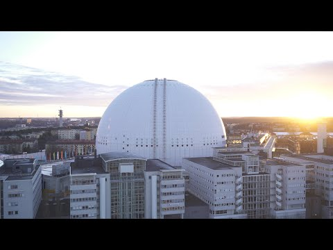 2566. Globen (Stockholm Globe Arena) Drone Stock Footage Video