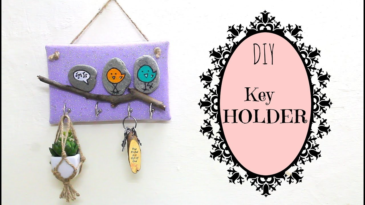 how to make a key holder diy for home decor using waste youtube