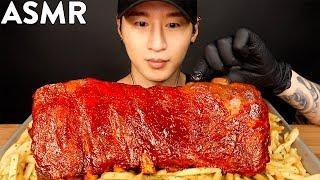 ASMR BBQ RIBS & GARLIC FRIES MUKBANG (No...