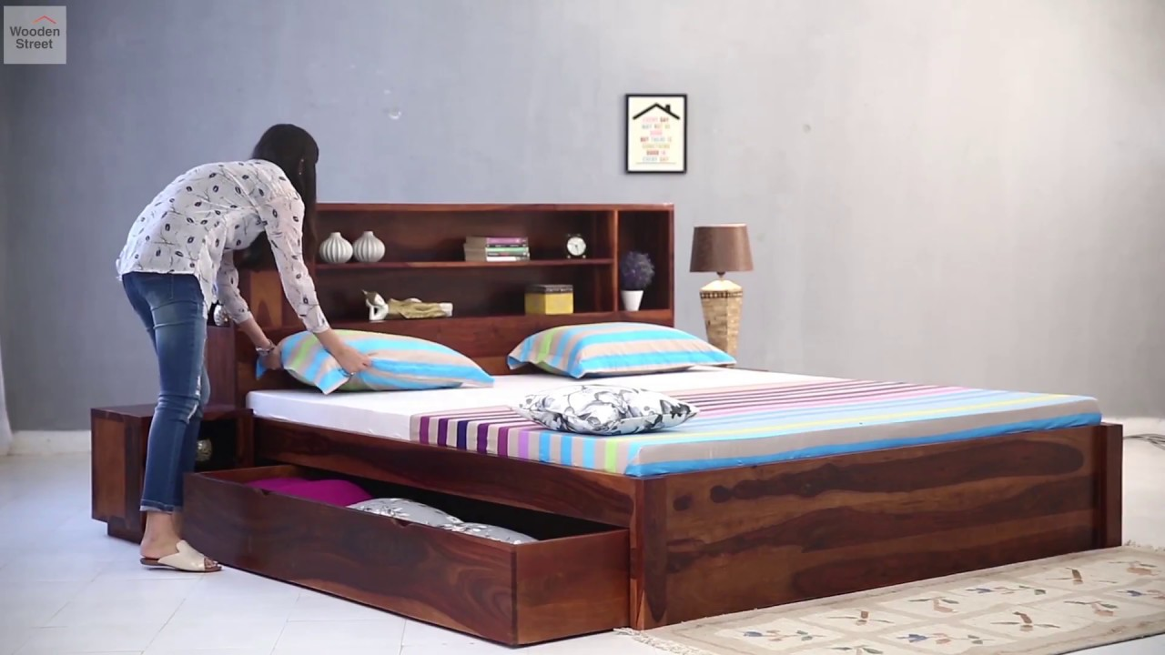Buy A Bed Bed With Storage Buy Alanzo Bed With Storage In Honey Finish Online From Wooden Street