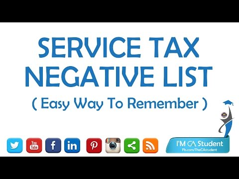 Service Tax Negative List || Easy Way To Remember || HD