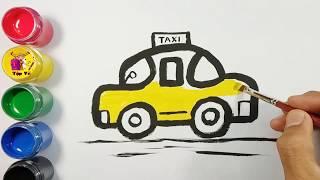 Bé tập vẽ và tô màu xe taxi | Draw and color TAXI cars