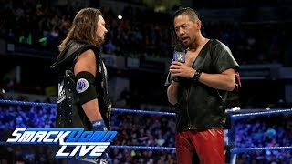 AJ Styles and Shinsuke Nakamura come face to face ahead of WrestleMania: SmackDown LIVE, March 13,..