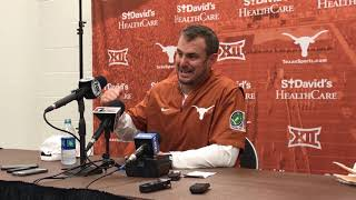 Texas head coach Tom Herman talks to the media after beating Kansas State