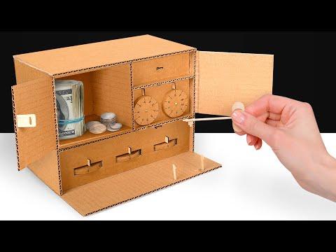 Самодельный картонный сейф с 3 замками | Ключ и кодовые замки