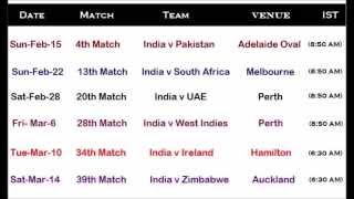 india cricket team time table for icc cricket world cup 15