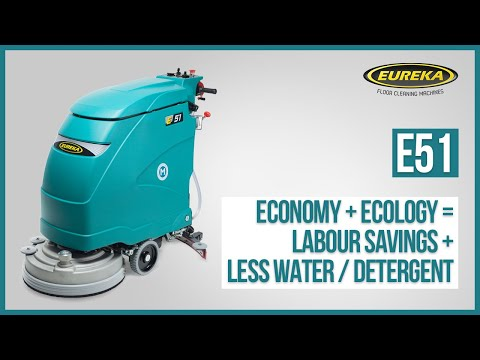 Single Brush, Professional Walk Behind Floor Scrubber-dryer E51 By Eureka Cleaning Machines