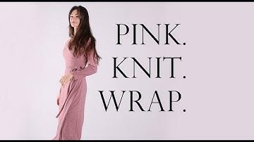 #랩원피스는바이어스웨어 FW 핑크 니트 랩원피스 런웨이