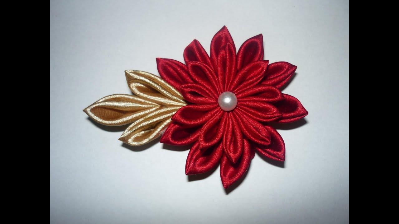 Tutorial flor kanzashi paso a paso kanzahi flower - Manualidades faciles con tela ...