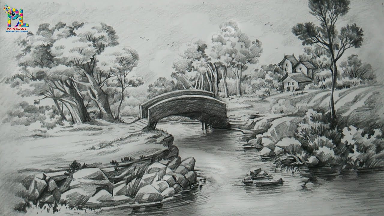 How To Draw A Easy Landscape With PENCIL STROKES | Pencil ...