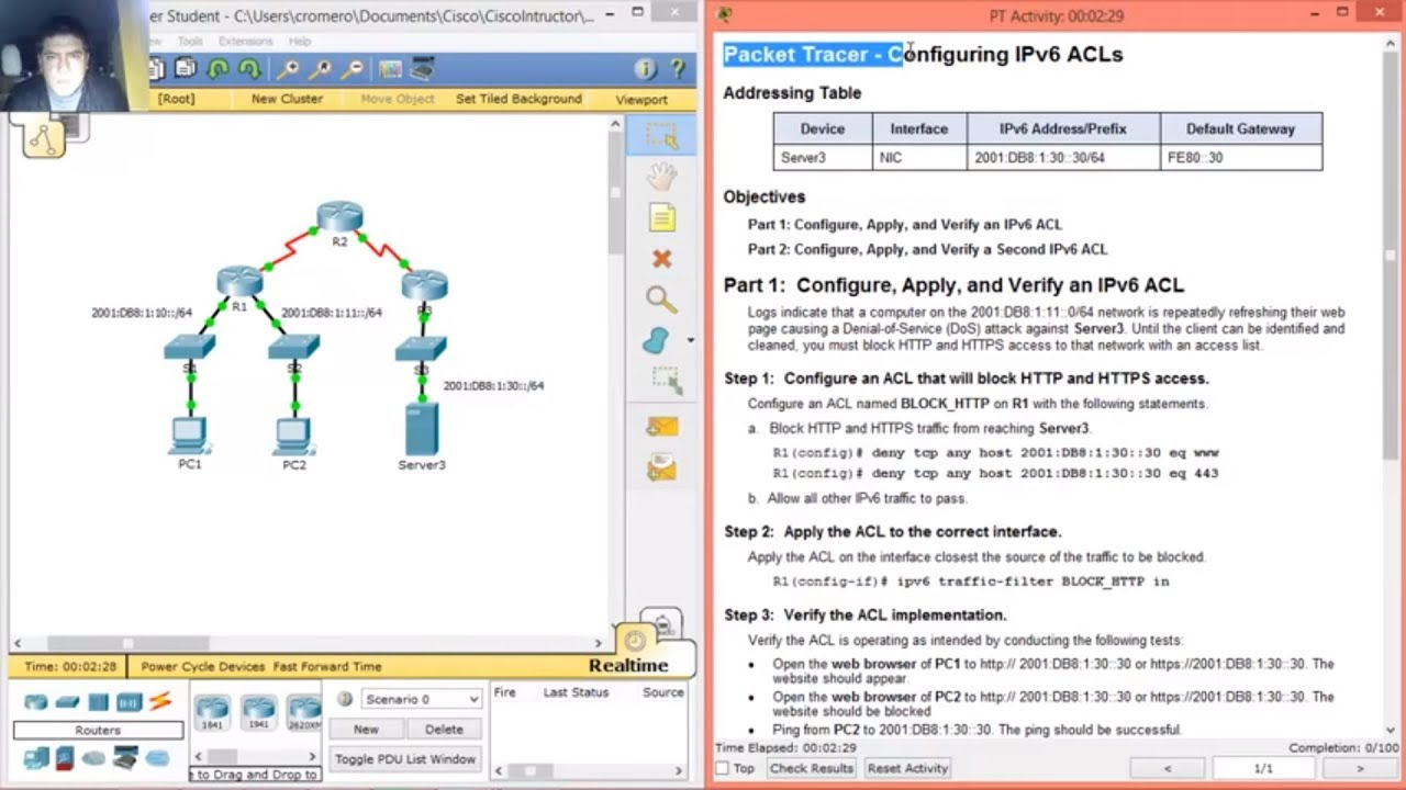 4 3 2 6 9 5 2 6 packet tracer configuring ipv6 acls youtube