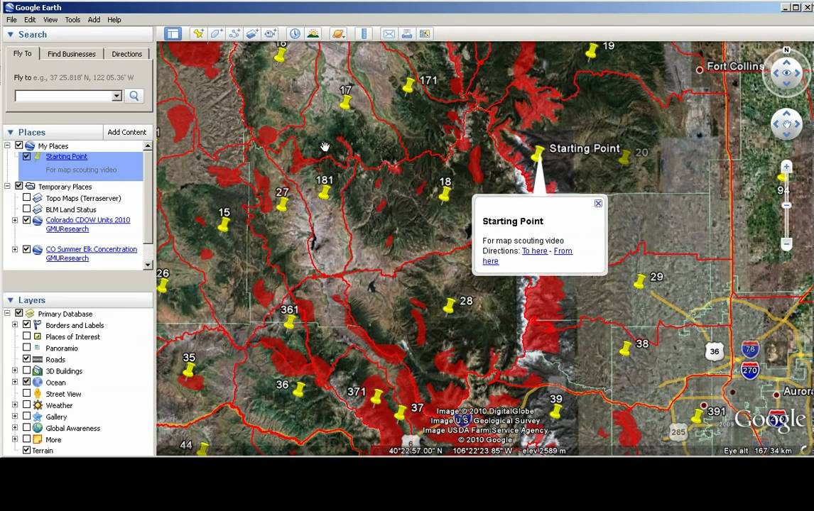 Google Colorado Map.Map Scouting With Google Earth Colorado Hunting Data Youtube