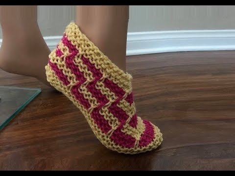 How To Knit Zig Zag Slippers Pattern #626│by ThePatternFamily