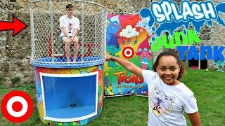 ICE WATER DUNK TANK CHALLENGE!! Girl VS Boy