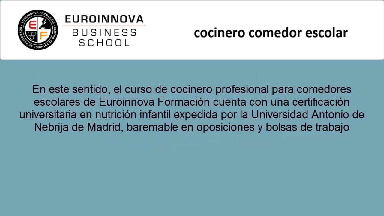 COCINERO COMEDOR ESCOLAR | Web Oficial EUROINNOVA