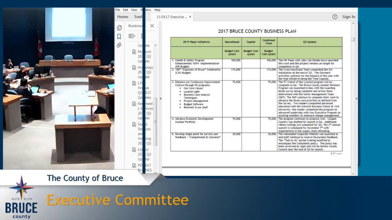 Executive Committee - November 9, 2017 | Bruce County