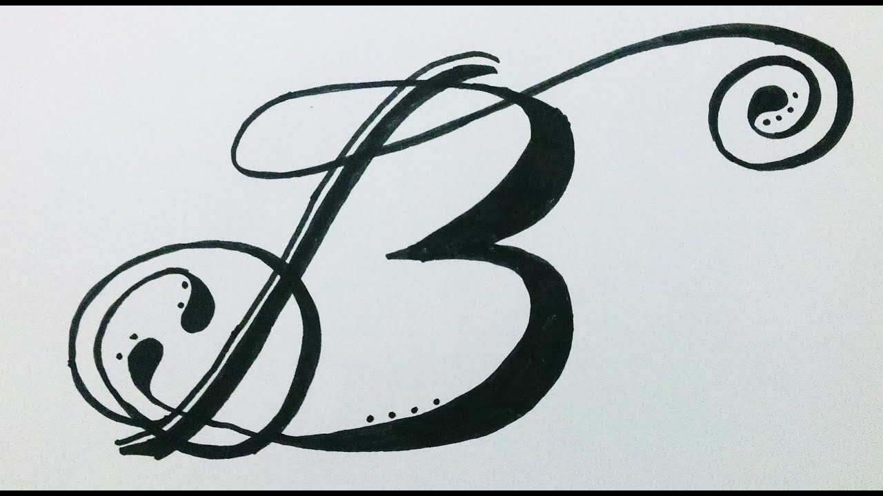 how to drawdesign alphabet b in swirled letterfancy letter youtube