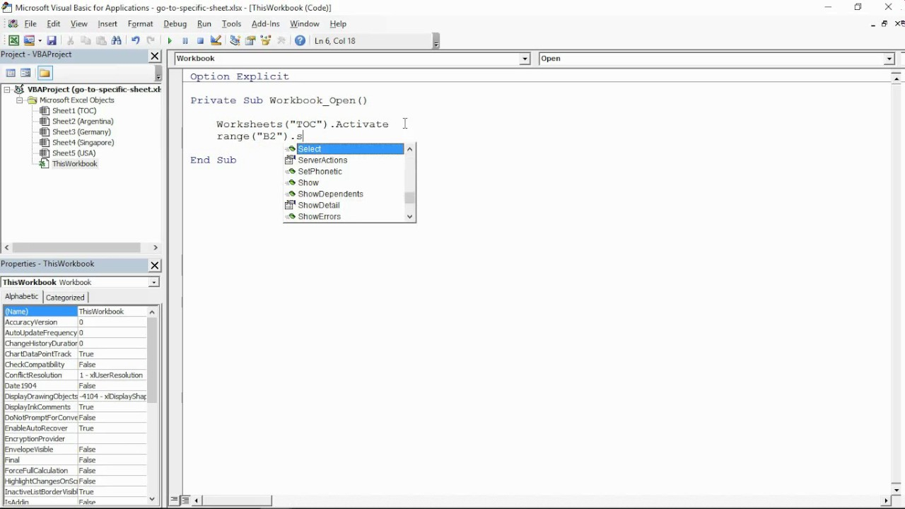 Workbooks excel.workbooks.open : Go To Specific Sheet on Workbook Open - Simple Excel Macro - YouTube