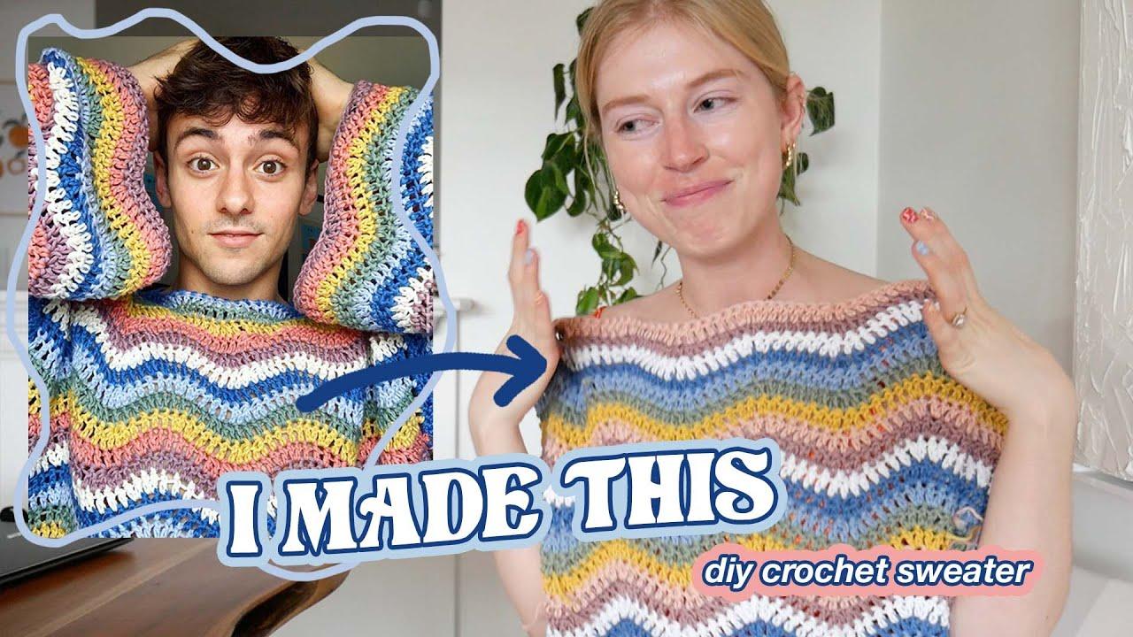 i made tom daley's wavy crochet sweater ✨ DIY rainbow ripple sweater