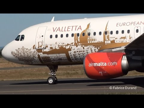 Air Malta (Valletta livery) A320 take off 18R at Lyon St Exupéry [LYS/LFLL]