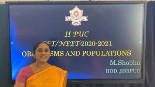 II PUC | BIOLOGY CET | ORGANISMS AND POPULATIONS - 2021