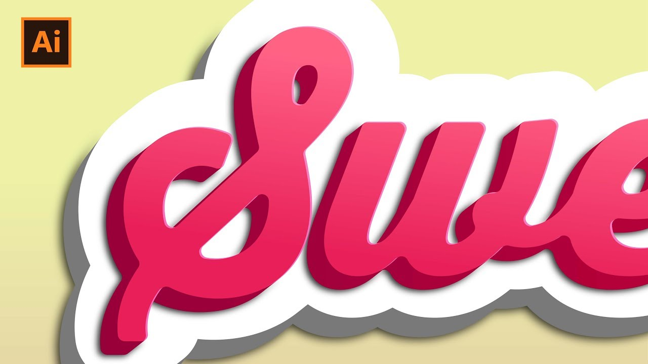 Sweet 3d effect   text effect tutorial   adobe illustrator youtube.