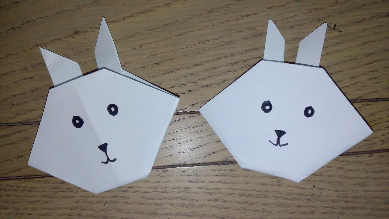 origami facile la t te de lapin the rabbit par. Black Bedroom Furniture Sets. Home Design Ideas