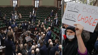 video: Watch: Abortion protest erupts in Polish parliament