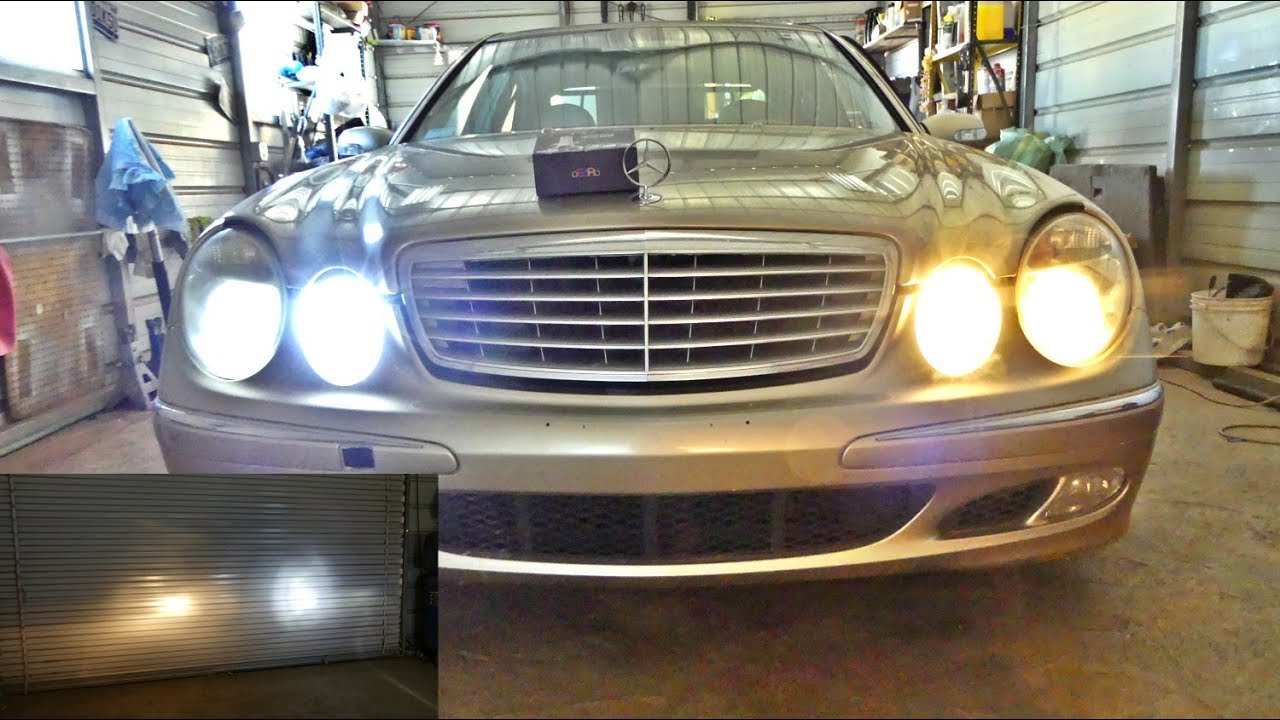 mercedes w211 led headlight bulbs youtube. Black Bedroom Furniture Sets. Home Design Ideas