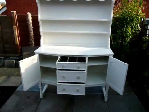 Antique Aged White Kitchen Dining Room Dresser YouTube