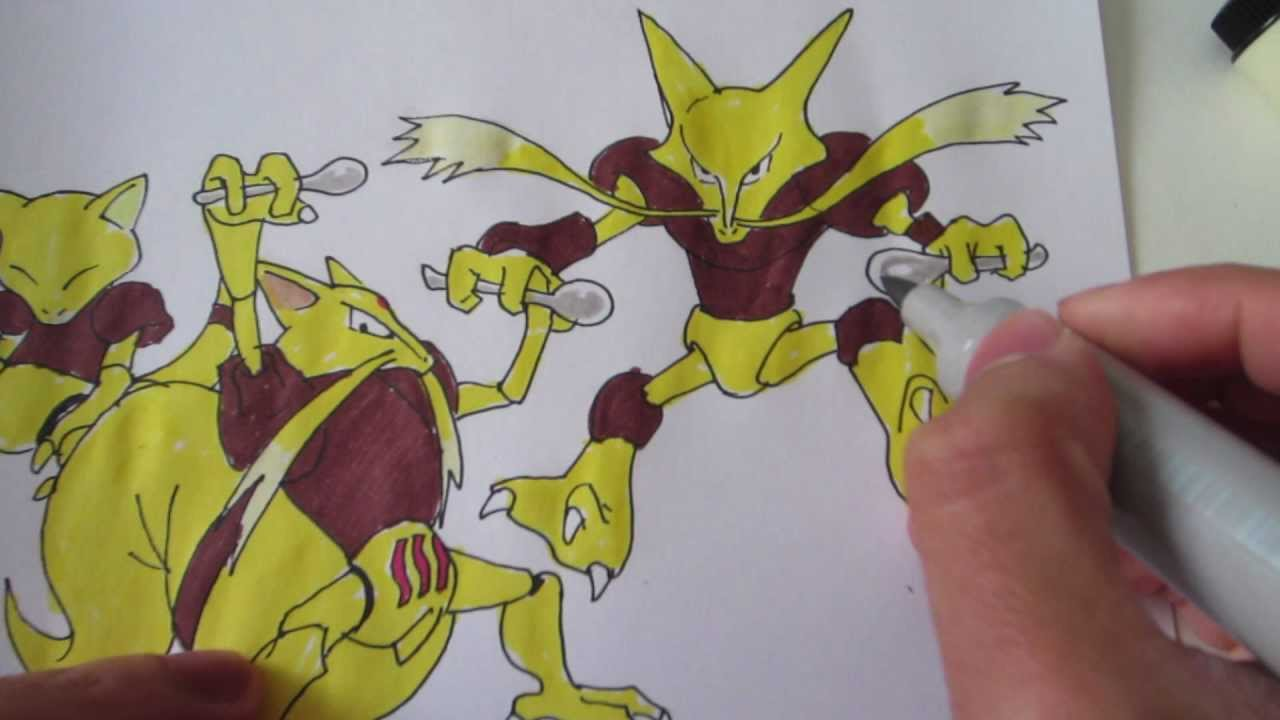 How To Draw Pokemon No 63 Abra No 64 Kadabra No 65 Alakazam Youtube