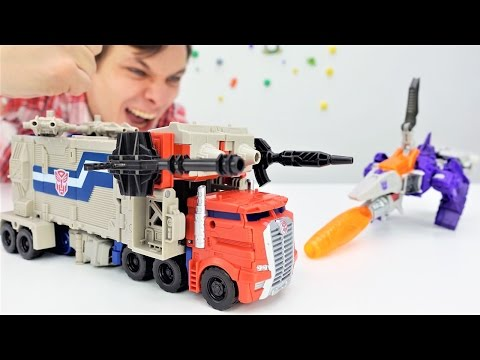 Видео с игрушками: Трансформеры! Оптимус против Гальватрона! Кто сильнее?