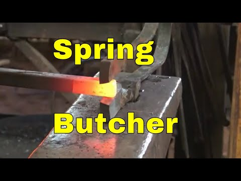 Spring butcher tool for the anvil hardy hole - blacksmithing tools