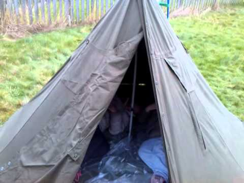 Completed Polish Army Lavvu Tent & Completed Polish Army Lavvu Tent - YouTube