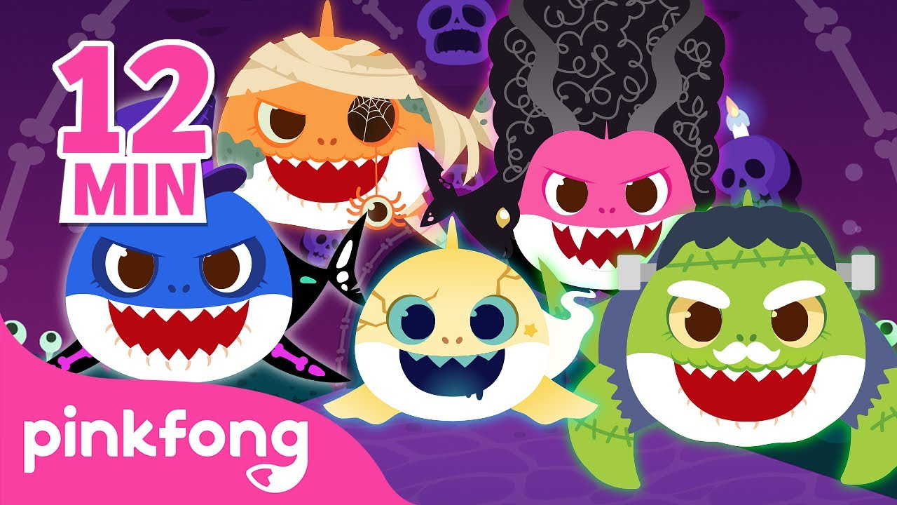 Spooky Baby Shark Family 👻 | Go Away, Monster! and more | Halloween Songs | Pinkfong Songs for Kids