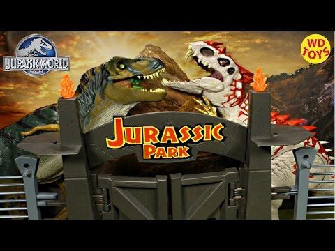 New Jurassic Park Electronic Command Compound VS Indominus Rex & T-Rex Jurassic World Unboxing