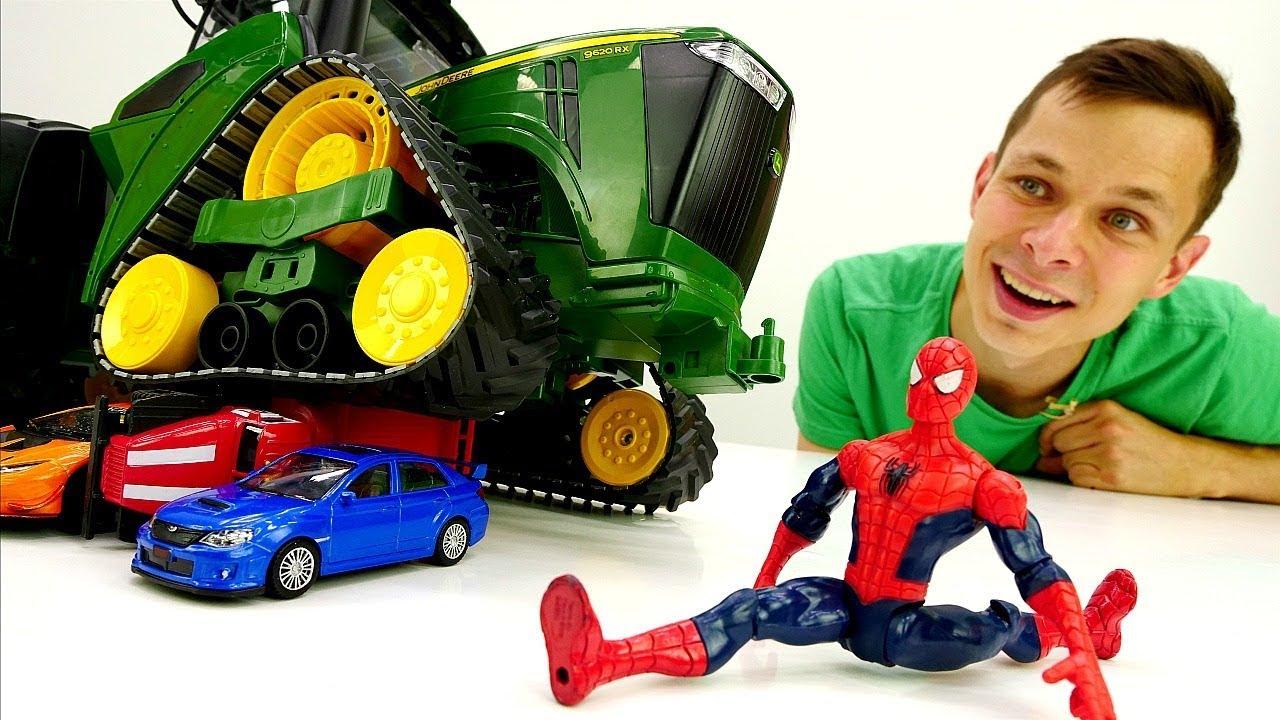 Видео с игрушками. Человек Паук и Фёдор прокачали трактор!