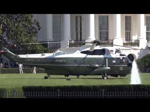 Helicopter komt Obama oppikken aan het Witte Huis - deel 1
