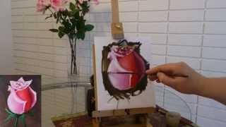 Пишем розу маслом