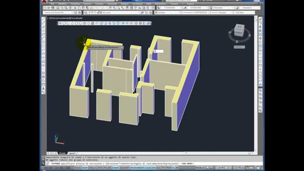 Dalla pianta 2d al 3d di un edificio con autocad parte 1 for Disegnare una stanza in 3d