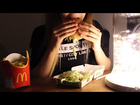 🍔Vegan ASMR Mcdonalds burger and fries - Eating sounds🍟